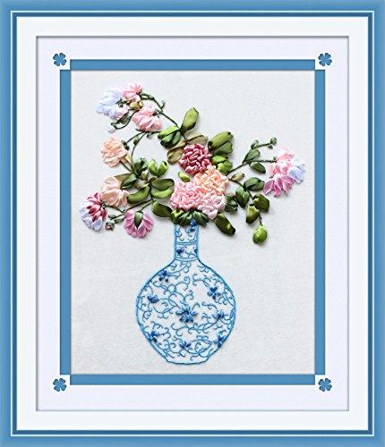 Printed Cross Stitch Tablecloth - Ribbon embroidery Kit,Fanryn 3D Silk ribbon embroidery Vase flower pattern design Cross Stitch Kit Embroidery for beginner DIY Handwork Home Decoration Wall Decor 40x50cm (No frame)
