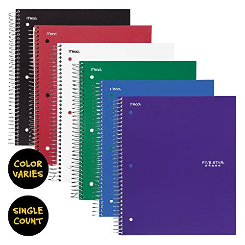 """043100062103 - Five Star Spiral Notebook, 3 Subject, College Ruled Paper, 150 Sheets, 11"""" x 8-1/2"""", Color Will Vary (06210) carousel main 1"""