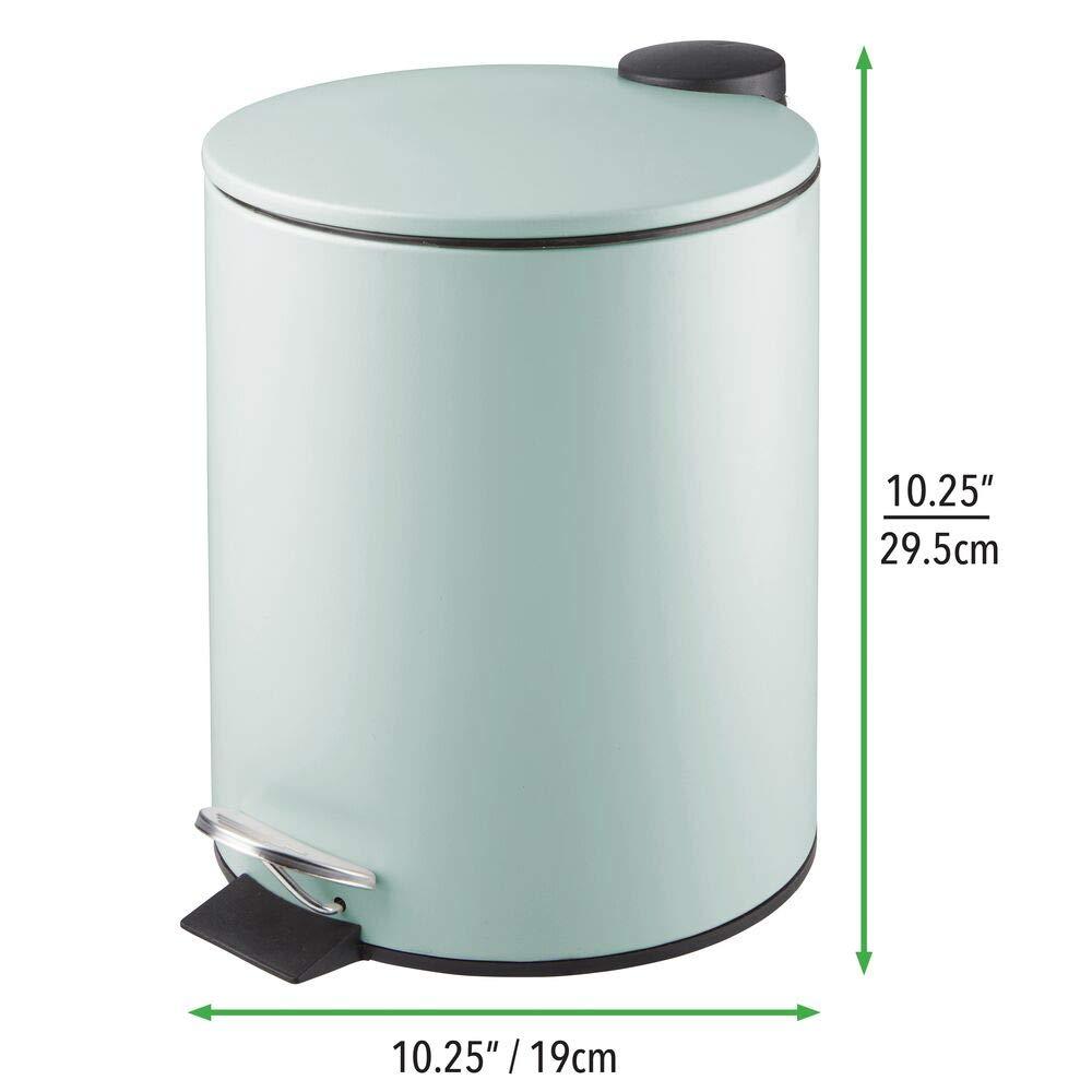 Contenedor de residuos de metal con 5 litros de capacidad mDesign Papelera de ba/ño redonda tapadera y cubo interior Elegante cubo met/álico para ba/ño pedal gris oscuro cocina o despacho