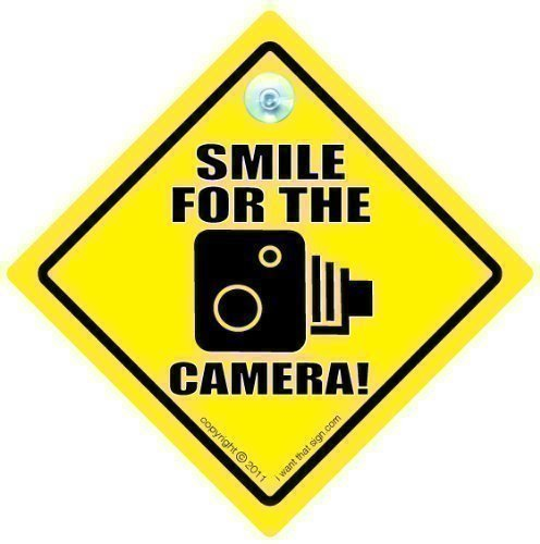 Smile For The Camera Car Sign, Car Sign, Bumper Sticker, Baby on Board, Driving Sign, Automobile Sign, Vehicle Sign, Smile For The Camera Sign, Speed Camera Car Sign, Baby on Board, Decal, Bumper Sticker, Speed Trap, Speeding Sign, Bumper Sticker, Baby On