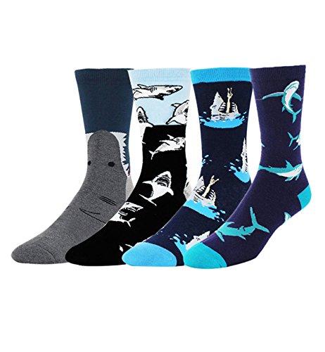 - Men's Fun Shark Attack Dress Socks,Novelty Patterned Crew Socks in Navy Blue Black,4 Value Pack Gifts for Shark Lovers