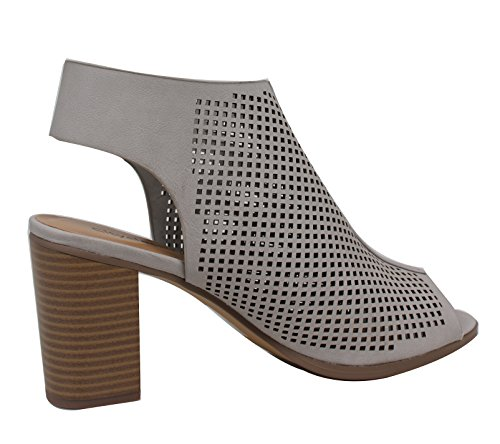City ​​class Womens Carreggiata In Ecopelle Peep Toe Laser Cut-out Tacchi Impilati Argentati-1