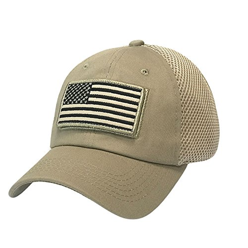 (The Hat Jungle USA American Flag Patch Tactical Hat Mesh Back Adjustable Baseball Cap)