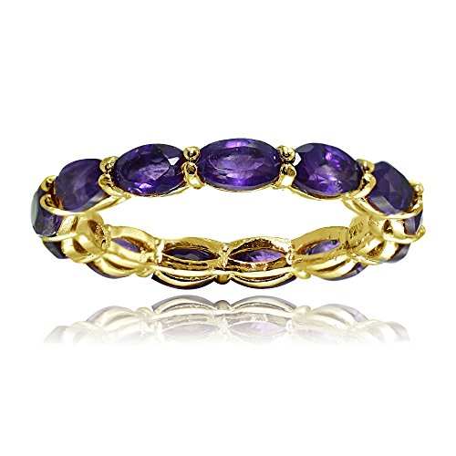 Yellow Gold Flashed Silver African Amethyst 5x3mm Oval-cut Eternity Ring, Size 8 -