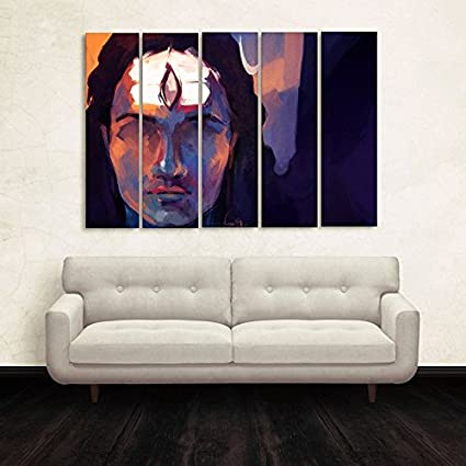 Hazzelnut CasperMe Multiple Frames Lord Shiva Wall Painting for Living Room, Bedroom, Hotels and Office (7 mm Hard Wooden Board , 50 x 30 inches,