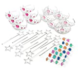 Princess Pretend Play Set - Tiara Dress Up Play Set - Crowns, Wands, and Jewels - Princess Girls Party Favors - Princess Costume Party Play Set, Includes 12 Princess Crown Tiaras, 12 Wands, 24 Rings