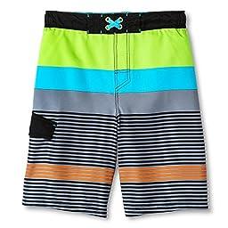 Cherokee Boys\' Fashion Swim Trunk (Medium, Mixed Stripe)