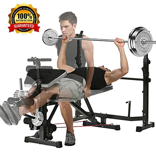 Olympic Weight Bench with Squat Rack/Leg Developer/Preacher Curl for Weight Lifting and Strength Training, Adjustable Flat Bench Press with Free Weight Set for Proffesional Fitness Home Use Exercise