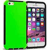 Cell Accessories For Less (TM) Black / Neon Green Hybrid Hard TPU Shockproof Case Cover With Built in Screen Protector for Apple iPhone 6 6S (4.7) Bundle (Stylus & Micro Cleaning Cloth) - By TheTargetBuys