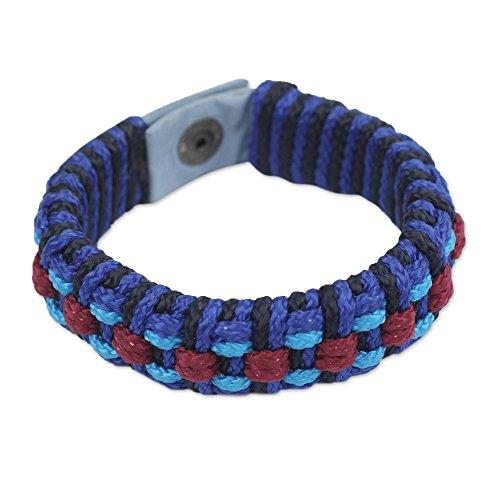NOVICA Brass Plastic Men's Wristband Bracelet, 8.5'' 'Azure Ananse Web' by NOVICA