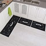 Carvapet 3 Piece Non-Slip Kitchen Mat Rubber Backing Doormat Runner Rug Set, Cozinha Design (Black 15