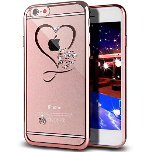 iPhone 6S Plus Case,iPhone 6 Plus Case,GIZEE Sweet Love Heart Glitter Bling Crystal Rhinestone Diamonds Clear Rubber Rose Gold Plating Frame TPU Soft Silicone Bumper Cover for iPhone 6/6S Plus 5.5