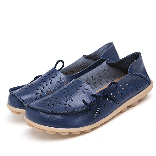 leanna Womens Plus Size 4-12 Hollow Out Carving Casual Leather Driving Flat Loafers Shoes With Bow Dark Blue qJRKDW