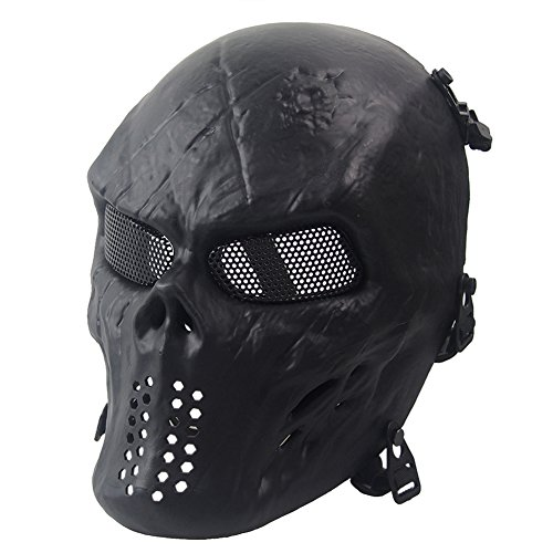 Metallic Skull Mask (Dopromal Metallic Cosplay Skull Skeletion Airsoft Mask Full Head tactical facemask for CS War BB Game)