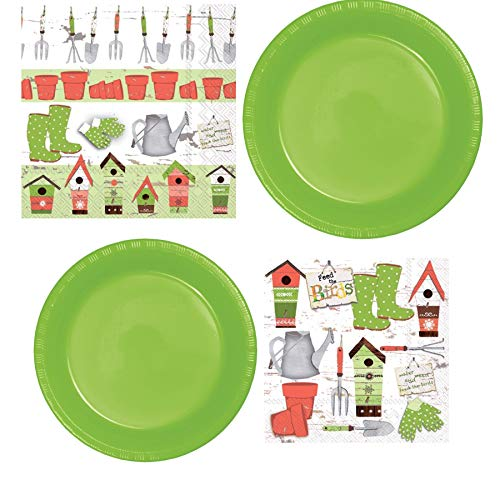Spring/Summer Garden Themed Disposable Party Supplies Serves 20: Dinner + Lunch Plates And Lunch + Beverage Napkins ()