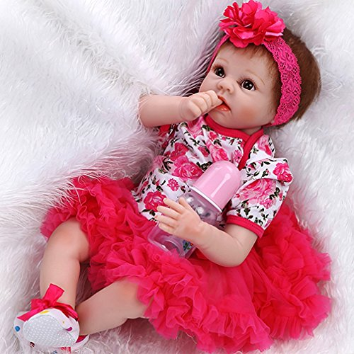 """NPK Reborn Baby Doll for Baby Lifelike Doll 22"""" Floral Dr..."""