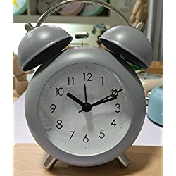 Ayzr Double Bell Alarm Clock Arc Metal Bedroom Living Room Lounge Clock,Gray