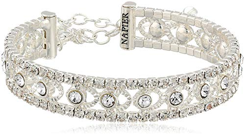Napier Women's Silver-Tone and Crystal Coil Cuff Bracelet
