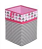 laundry basket insert mesh - Bacati Collapsible Storage Hamper, Elephants, Pink/Grey, One Size