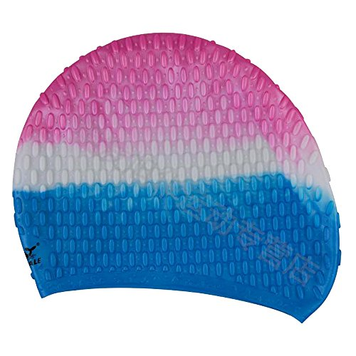 Micmall Rated Long Hair Water Drop Style Silicone Swim Cap Mutil-Color