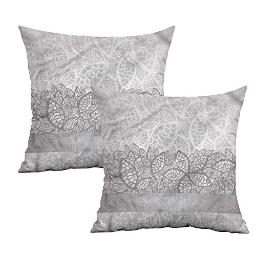 Khaki home Grey Square Kids Pillowcase Lace Inspired Floral Square Personalized Pillowcase Cushion Cases Pillowcases for Sofa Bedroom Car W 24