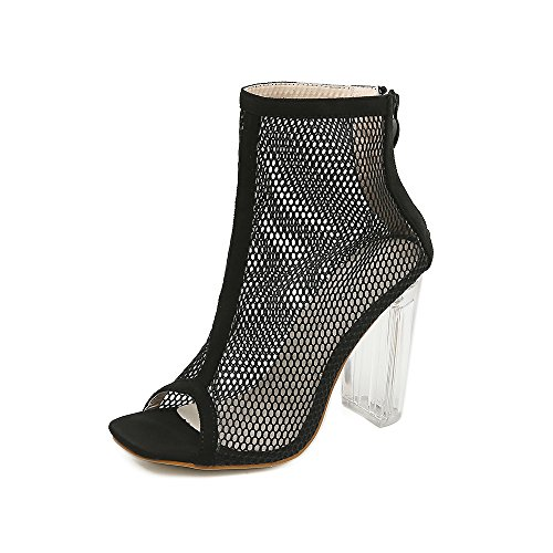 pesce nuovo con ZHZNVX ed primavera nuovo sistema tacchi al alti bocca spesso con black cristallo traspirante scarpe netto sandali scarpe esposto fashion alta di estate filato Il tacco ad vAq1wv