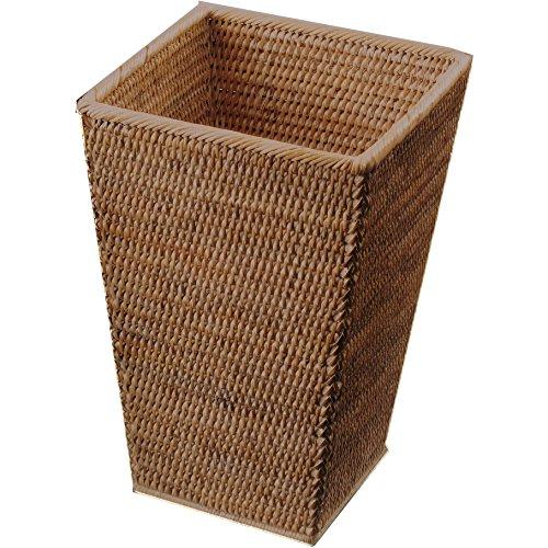 (DWBA Malacca Square Wastebasket Trash Can for Bathroom, Kitchen, Office - Rattan (Dark Rattan))