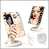 Do It Yourself Vanity Mirror with Lights ViEr Makeup Light Mirror, 22 LEDs Touch Light Illuminated Cosmetic Desktop Vanity Mirror with Stand,Handy Touching On/Off White -Vanity Cosmetic Mirror (White)