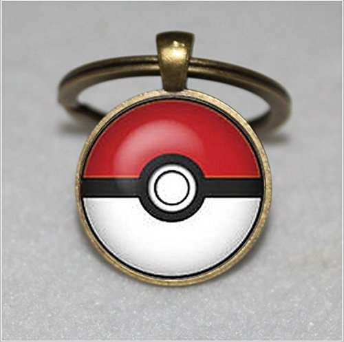 Pokemon Keychain ,Silver plated Pokeball Keychain,links Accessories Geek Wedding Keychain,Unique Key Ring Customized Gift,Everyday Gift Key Chain