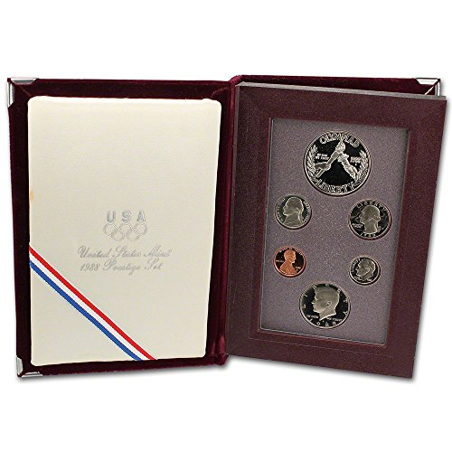 1988 US Mint Prestige Proof Set Original Government Packaging with Silver Olympic Dollar - 1988 Mint