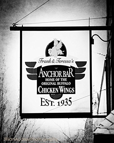 Black and White Modern Photograph of Buffalo New York's Anchor Bar Restaurant Sign, Home of Chicken Wings ()