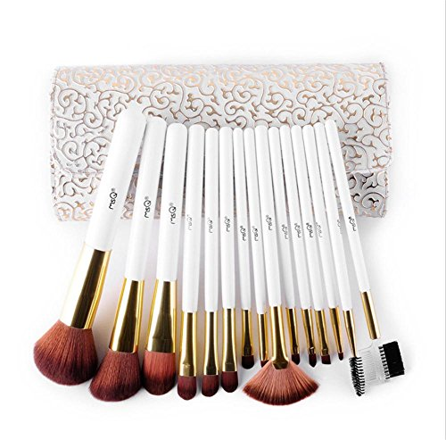 OOLL&H 15pcs pinceles de maquillaje en polvo contorno de cejas cepillo de fibra artificial con bolsa de cuero cosmético de...