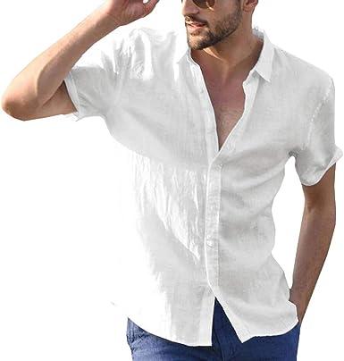 Henley Camisa para Hombre Manga Corta Suelto Camisa Color Sólido Trabajo Camisa Moda Bohemia Camisetas de Playa Suave Cómodo: Amazon.es: Ropa y accesorios
