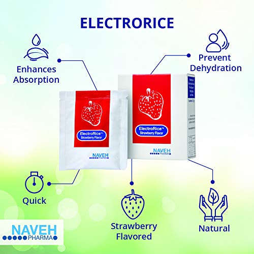 ElectroRice Anti-Dehydration Electrolyte Supplement Use During Bouts of Diarrhea and Vomiting, Natural Rice-Based Oral Prevention of Dehydration, for Children and Adults, 5 Strawberry Flavored Packets