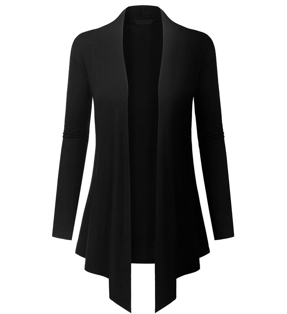 lymanchi Womens Open Front Drape Hem Cardigans Long Sleeve Cover Ups Lightweight 94 Black M