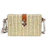 Olyphy Linen Shoulder Bag for Women, Summer Beach Bag Woven Crossbody Bag with Lock (beige)
