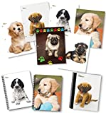 NEW GENERATION - Puppies - Fashion School Supplies 2 Pocket Folders Value Pack with Eye-Catching Designs - Durable Set with 6 School Folders,1 Composition Notebook, 2 Spiral Notebooks