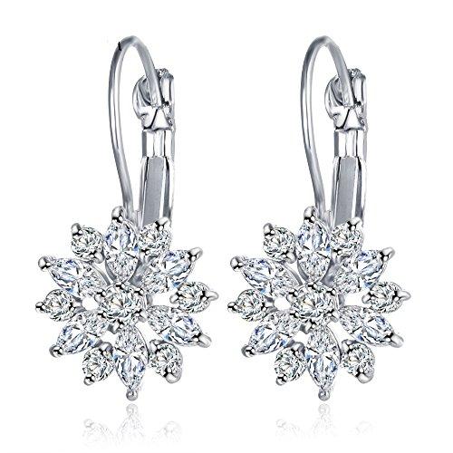 [Cosines Jewelry - Flower CZ Diamond Leverback Silver Hoop Earrings Bridal Women's Wedding Party] (The Real Batman Costume For Sale)