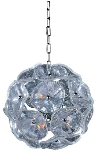 ET2 E22090-28 Fiori 8-Light Single Pendant, Polished Chrome Finish, Clear Murano Glass, G9 Xenon Bulb, 50W Max., Dry Safety Rated, 2700K Color Temp., Standard Dimmable, Fabric Shade Material, 1250 Rated - Fiore Single