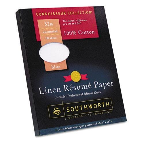 (SOUTHWORTH COMPANY 100% Cotton Linen Resume Paper, Blue, 32 lbs., 8-1/2 x 11, 100/Box (RD18BCFLN))