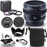 Canon EF 50mm f/1.4 USM Standard & Medium Telephoto Lens + Optics 58mm 3 Piece Filter Kit Set (UV, CPL, FLD) + Ritz Gear Protective Pouch + Lens Cap Strap + Deluxe Polaroid Accessory Bundle