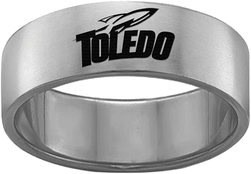 College Jewelry Toledo Rockets Rings Stainless Steel 8MM Wide Ring Band Single Logo Style