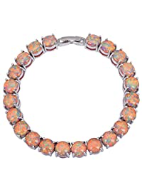 BMALL Glam Luxe Mysterious Silver Brown Black Opal Bracelets Bangles For Teen Girls Pulseiras Femininas 19.5Cm 7.67 Inch B431