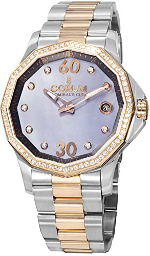 Corum 082.101.29-V200PK10 38mm Diamonds Automatic 18K Gold Case Multicolor Gold Tone Stainless Steel Anti-Reflective Sapphire Women's Watch (Corum 18k Wrist Watch)