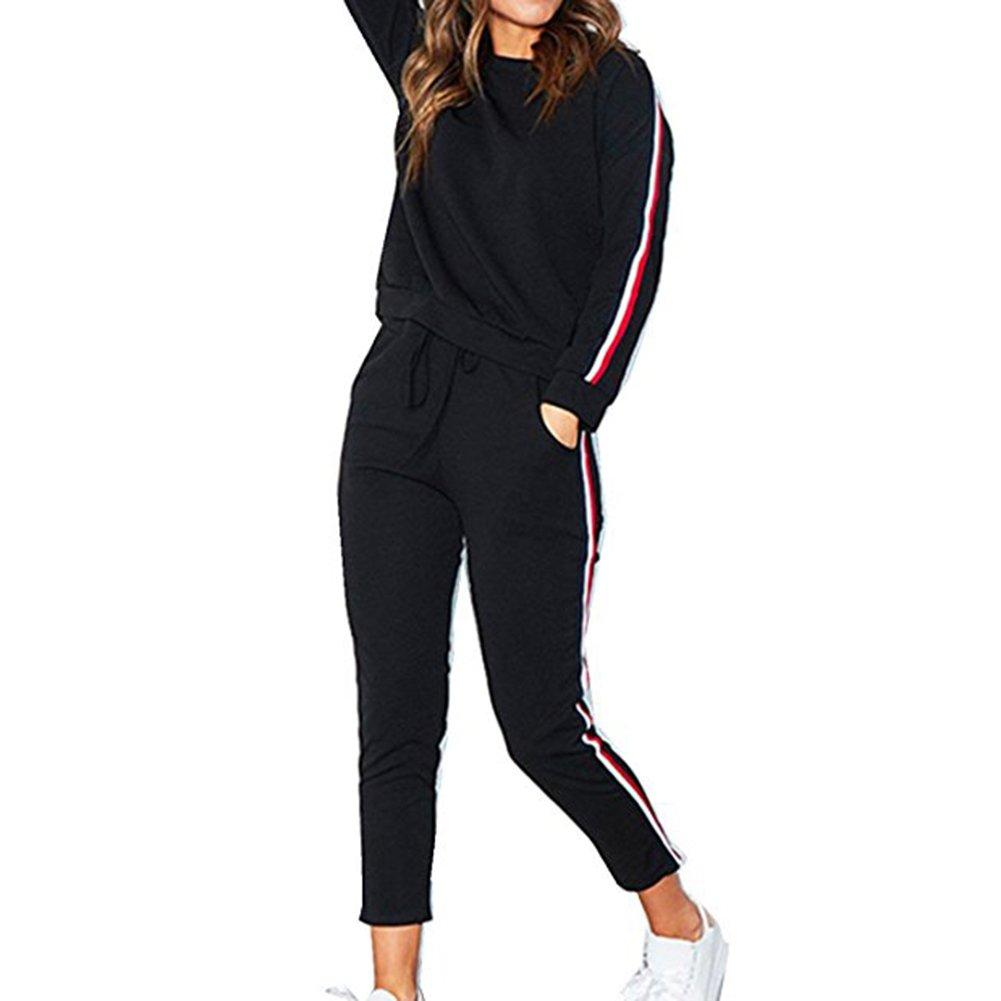 2PCS Abbigliamento Sportivo Donna Vestiti Sportivi Maniche Lunghe Tuta Solida Set Sportivo Felpa Strisce Felpa + Pantaloni Autunno Inverno Esecuzione Jogging hibote P171108WYTZ16-X