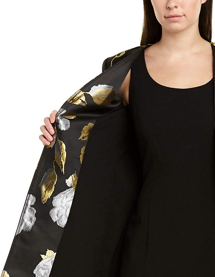 Tahari by ASL Open Topper and Dress Set Black/Gold/Roses
