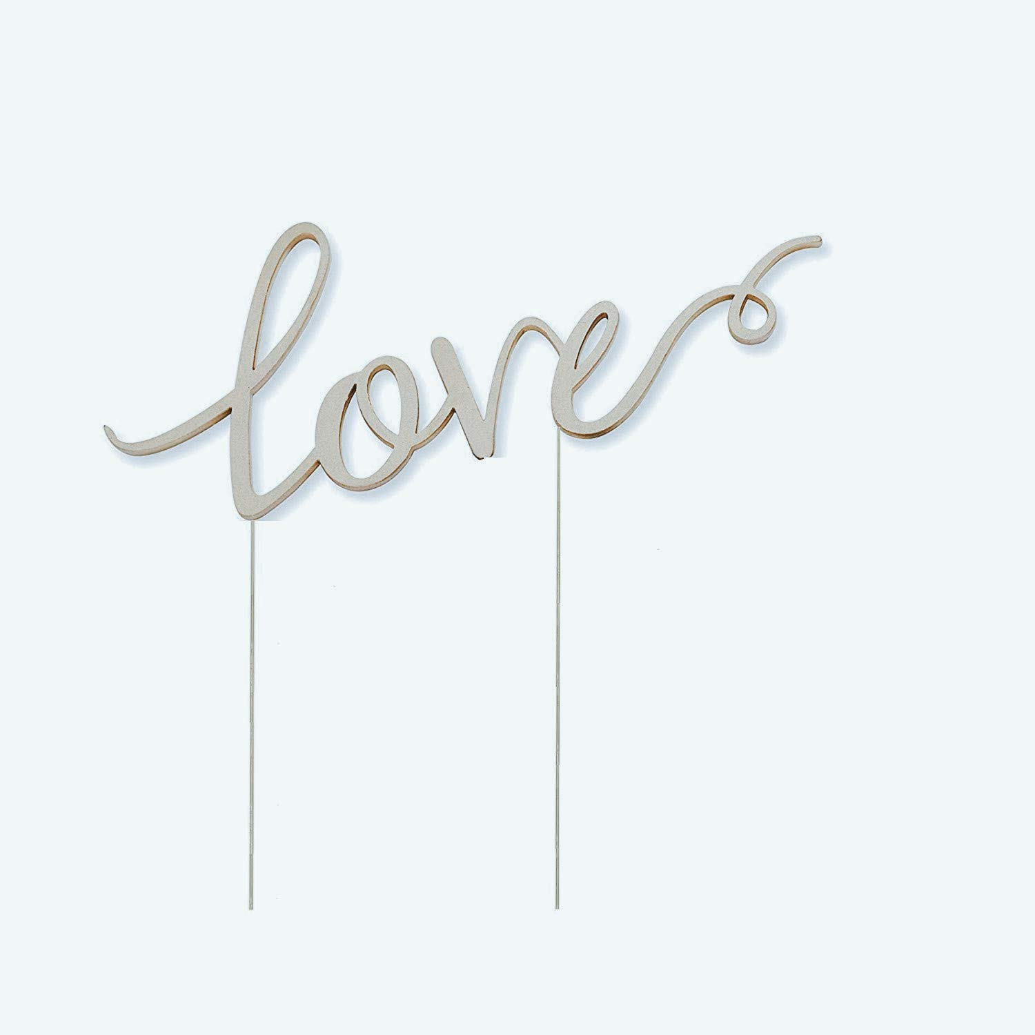 Silver Love Metal Wedding Cake Topper