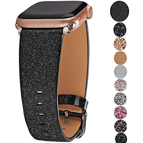 Greaciary Glitter Bling Band Compatible for Apple Watch 38mm 40mm 42mm 44mm,Leather Luxury Shiny Sparkle Women Replacement iWatch Strap Wristbands for iWatch Series 4/3/2/1