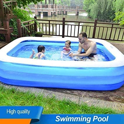 Family Inflatable Pool SY3 Rectangular Swimming Pools for Kids and Adults, PVC Folding Durable Family Swim Center Blow up Inflatable Pool Kiddie Bath Tubs for Garden Backyard 50x33x18inch
