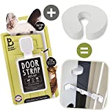 Door Buddy Door Latch Plus Door Stop. Keep Dog Out of Litter Box and Prevent Door from Closing. Easy Cat and Adult Entry. Installs in Seconds. Perfect Pet Gate and Cat Door Alternative! (Grey)